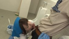 Japanese Cleaning Floosie get fucked on the toilet restroom