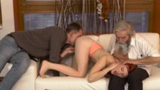 DADDY4K. Old pervert thrusts his fingers into hoochie-coochie...
